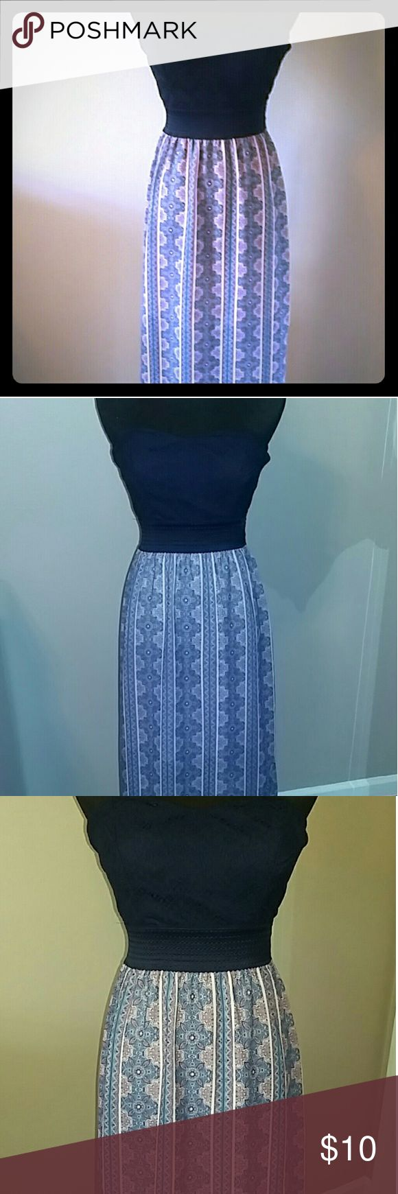 Cute & CHIC, strapless maxi dress size S Love this comfortable, fitted strapless maxi dress. Super cute, chic, and fun! Like new, only worn once! Maurices Dresses Maxi