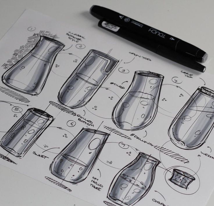 Ellipses! If you have ten minutes try this quick fun exercise to practice ellipses. Drop a line for the minor axis, one ellipse on each end and join them twice with a thickness between the them - a really easy and rewarding way to sketch some glass bottles/beakers/vases!  #industrialdesign #id #idsketching #productdesign #design #designer #diseño #instasketch #instadesign #sketch #sketches #sketchoftheday #sketching #tutorial #practice #glass #bottle #marker