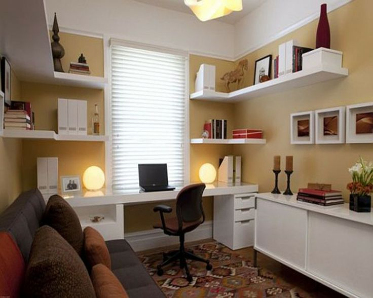 ... That It Is Not Cluttered Looking But Has Just The Right Amount Of  Decoration. White Furniture Home Office Design  Shelving Desk Space With Open Storage.