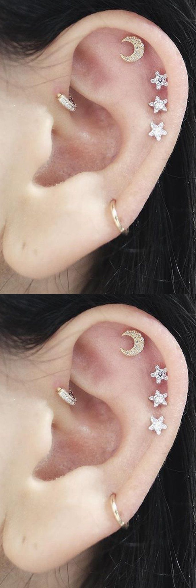 Cute Feminine Multiple Ear Piercing Combination Ideas at MyBodiArt.com - Crescent Moon and Stars Sky Cartilage Helix Earring Studs