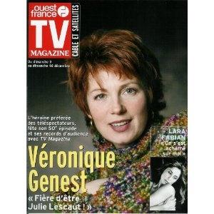 """Véronique Genest : """"Fière d'être Julie Lescaut"""", dans TV Magazine Ouest-France n°17372 du 07/12/2001  [couverture et article mis en vente par Presse-Mémoire]"""