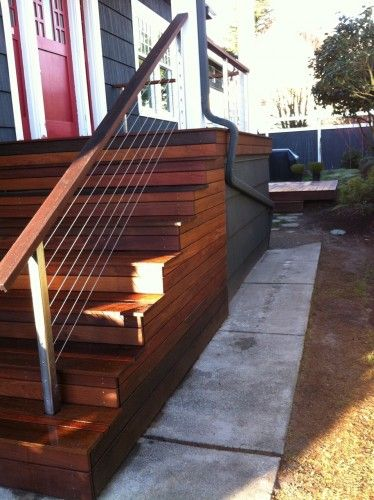 front step -modern with natural wood elements