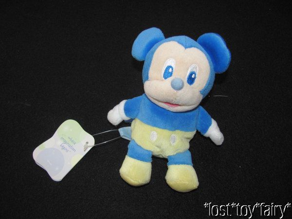 "Disney Baby Blue Mickey Mouse Yellow Bean Bag Mini Stuffed Lovey Toy NWT 6""  #Disney"