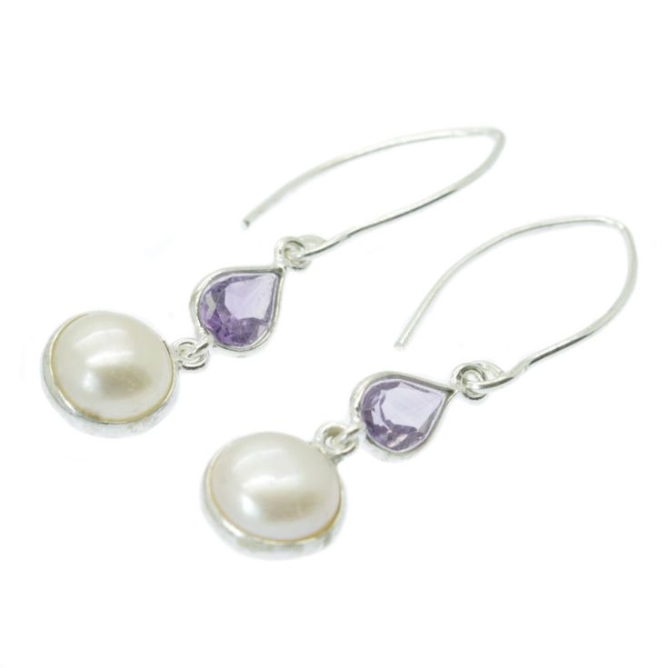 Amethyst & Pearl Drop Earrings Cultured Freshwater Button Pearls. Large 10mm AA white cultured freshwater button pearls in silver bezel casings are matched with pear cut Amethysts. This stylish pearl & gemstone combination hangs on 925 sterling silver hooks. | eBay!