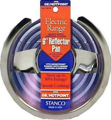 Stanco Range Reflector Pan No. 501-6, Universal For Electric Ranges Chrome Plated Steel, Porcelain 6