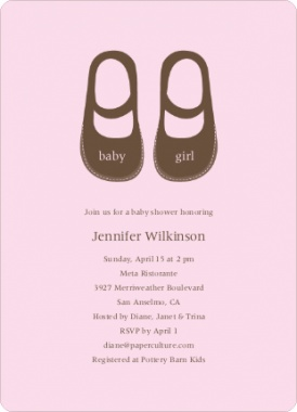 Sweet Mary Janes (little boy loafers are also available!) | Baby Shower Invitations