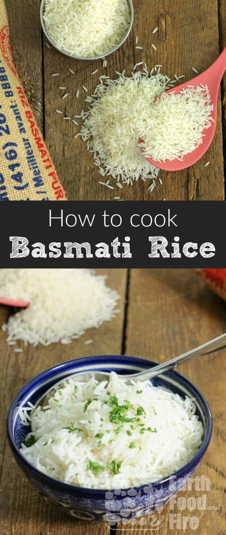 Cooking basmati rice at home is an essential skill everyone should know. Cook perfect and nutritious basmati rice at home consistently with this simple to follow guide! #basmati #rice #glutenfree #healthy #cookingskills #fromscratch via @earthfoodandfire