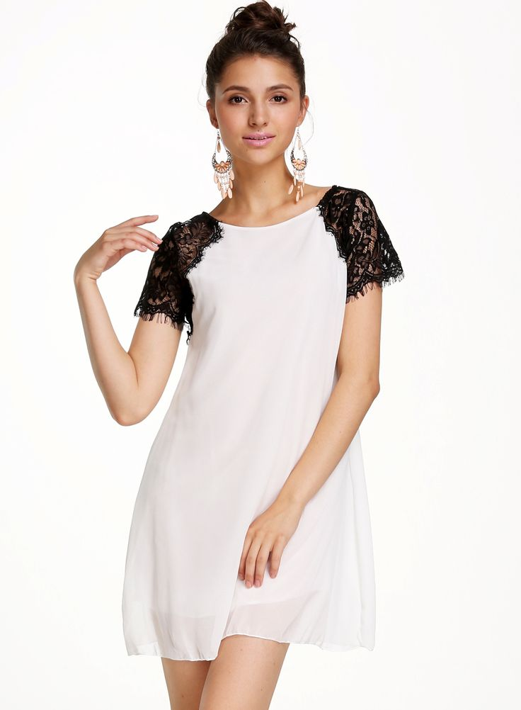 Shop White Contrast Lace Short Sleeve Straight Dress online. Sheinside offers White Contrast Lace Short Sleeve Straight Dress & more to fit your fashionable needs. Free Shipping Worldwide!