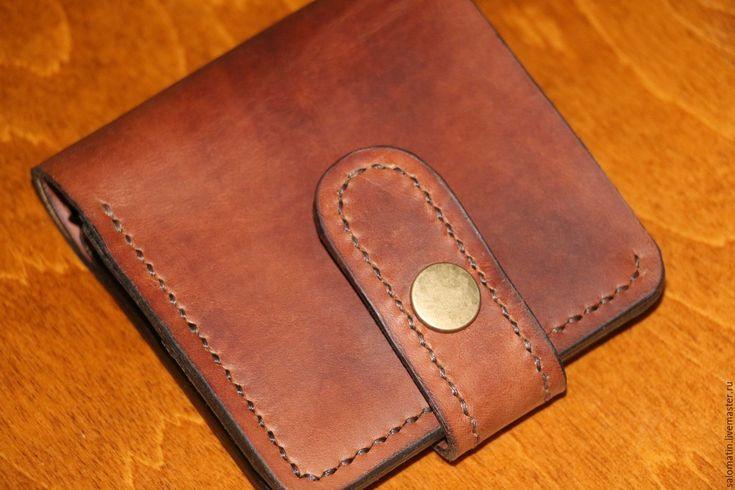Купить Портмоне с отделом для мелочи - коричневый цвет, ручная работа купить, натуральная кожа КРС
