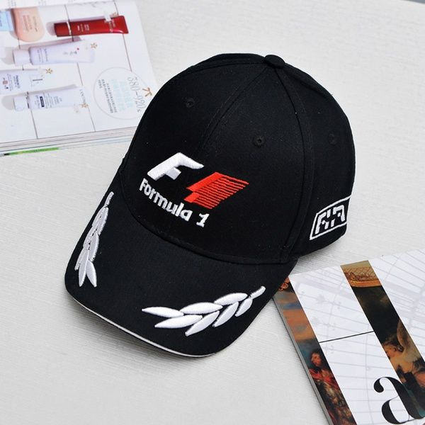 Wish | New Black F1 Racing Team Hat Embroideried Letters Wheat F1 Formula One Team Golf Cap Baseball Cap (Color: Black)