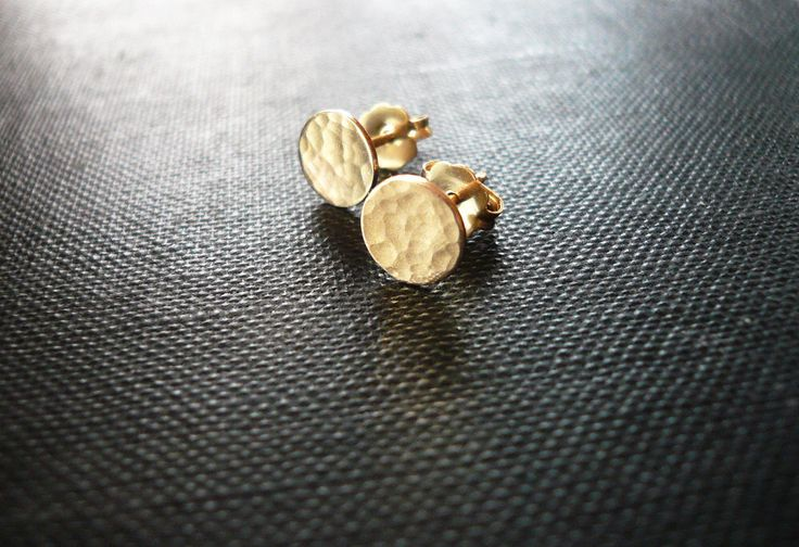 Tiny Hammered Gold Dot Earrings - Dainty 14K Gold Filled Post Earrings, Tiny Hammered Gold Dot Circle Earrings, Tiny Gold Studs by roundabout on Etsy https://www.etsy.com/listing/185703027/tiny-hammered-gold-dot-earrings-dainty