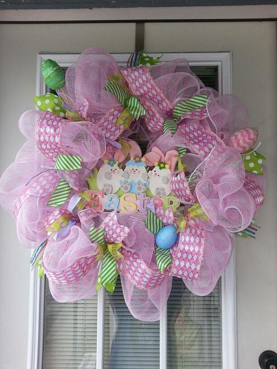 Large Pink and Pastel Deco Mesh Easter by Vintages Seams and Things