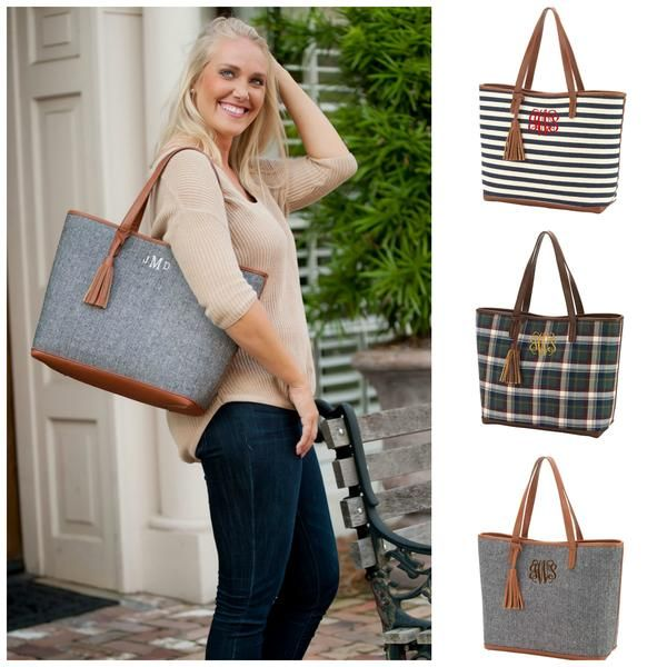 Monogrammed Large Tassel Tote Handbag Purse Shoulder Bag