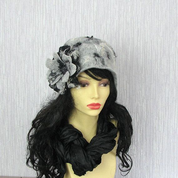 Felted Hat Cloche Hat grey Flapper hat  Women Hat by AlbadoFashion, $99.00