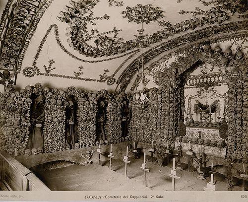 Capuchin Crypt - a composition of human skulls belonging to Capuchin monks beneath the church of Santa Maria della Concezione dei Cappuccini