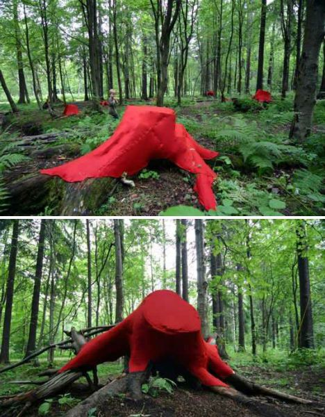 Temporarily covered in red felt, a series of tree trunks in a Finland forest stand out in sharp relief against the natural green and brown tones of their surroundings. Artist Lea Turto covered the trunks in Helsinki's central park.