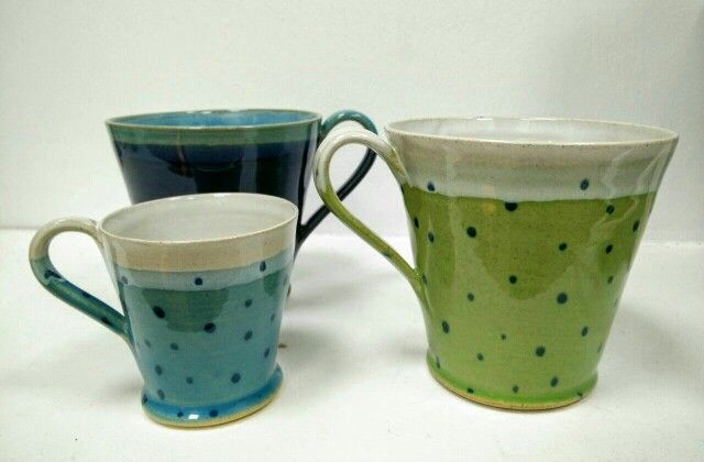 Beautiful pottery from Tea With Jud! Large cups £16 (polkadot) & £15 (plain). Espresso cups £9.75 (polkadot) & £8.75 (plain). https://www.facebook.com/GlasgowSunshine.number1 Perfect for coffee, tea or even gin!!