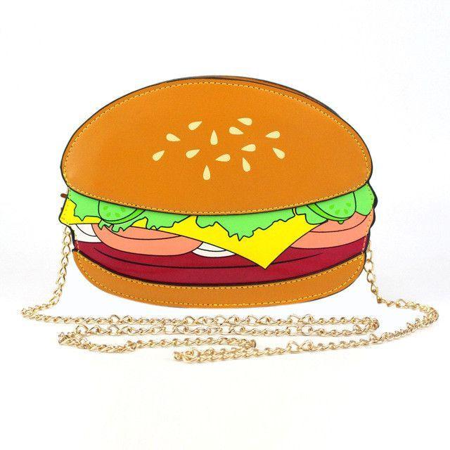 Funny Hamburger/Popcorn Shape Crossbody Bag Small Crossbody Bags For Women Cute Purse Handbags Chain Messenger Bags Party Bags
