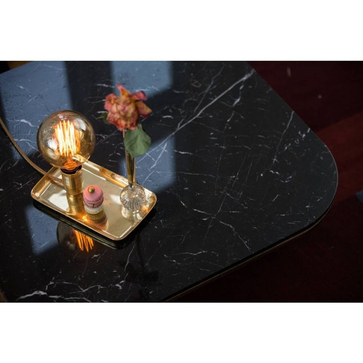 Tracy brass - black marble table