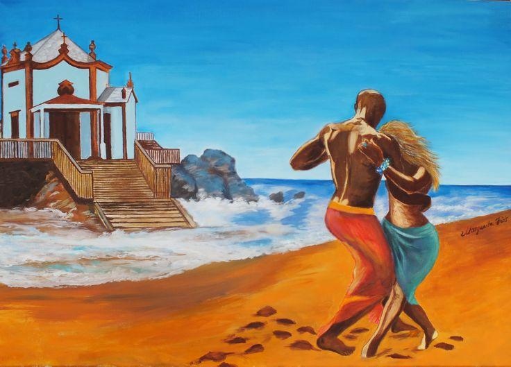 Kizomba on the beach, Acrylics on canvas,  50x70 cm