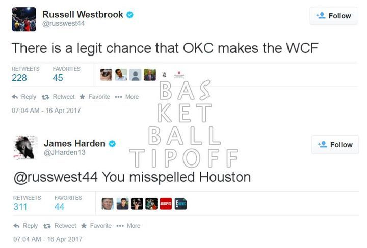 Russell Westbrook fans vs @James Harden #13 fans Mean tweets.  are having fun with each other already!  Oklahoma City fans are rolling their eyes at this years western conference playoffs. James Harden and Russell Westbrook meet in the 1st Round and the winner has a great chance of meeting Kevin Durant in the final.   This trio would have been the greatest threesome drafted to play together. Now that accolade could go to the sixers who have Saric Embiid and Simmons.   -dubStepHD