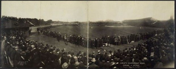 """1907 """"World Championship Series"""" between the Detroit Tigers and the Chicago Cubs at Bennett Park.  Even with their young star Ty Cobb, the Tigers were swept by the Cubs in 4 games (with 1 tie)."""