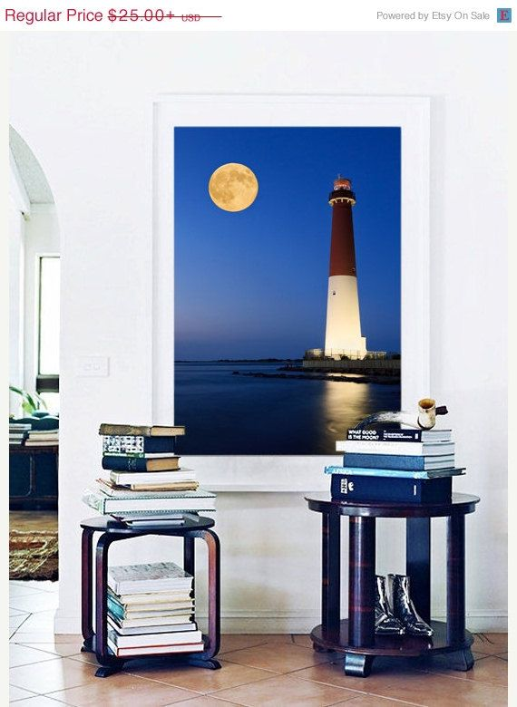 Barnegat Lighthouse Photo Print NJ Shore Moon Ocean Beach Photography Navy Blue Yellow Large Wall Art Coastal Wall Decor Seascape Picture on Etsy, $23.37 AUD
