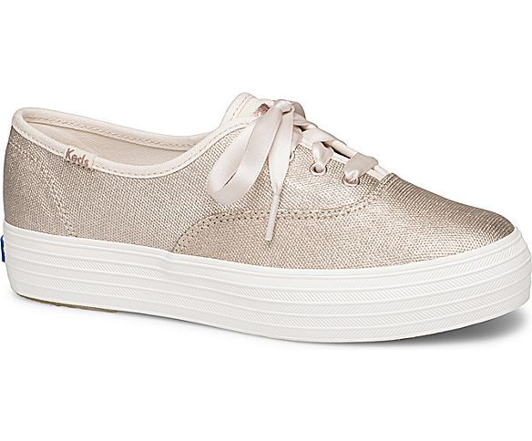 Keds Womens Triple Matte Brushed Metallic Sneakers Rose Gold