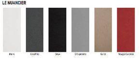 Nuancier 6 couleurs de la peinture effet béton de Tollens à coordonner pour repeindre carrelage crédence et plan de travail cuisine et salle de bain : par exemple Gris anthracite (Graphit) avec rouge Garance,  Gris Polaire et blanc ou beige et Noir Onyx.