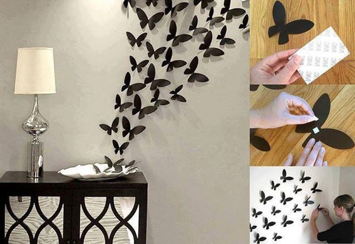 Diy butterfly wall art diy crafts craft ideas easy crafts for Art and craft ideas for home decoration