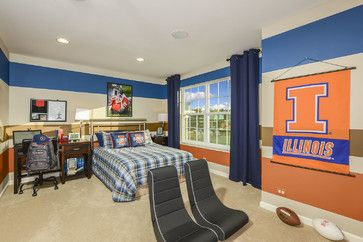 Striped walls in teen or college age boy