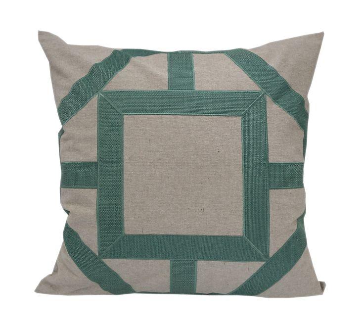 Applique Linen Poly Green and Teal Throw Pillow