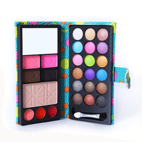 Fashion 18 Color Eye Shadows + 2 Blush + Pressed Powder + 3 Lip Frozen + 2 Eyebrow Professional Makeup Sets Wallet Eyeshad