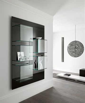 'Dazibao' Horizontal or vertical version, back white of black lacquered. So original with its glass containers for books and objects. Back panel available also in canaletto walnut wood finish.