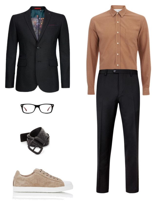 """Untitled #70"" by priliscaa on Polyvore featuring Ted Baker, Gianvito Rossi, Bottega Veneta, Ray-Ban, men's fashion and menswear"