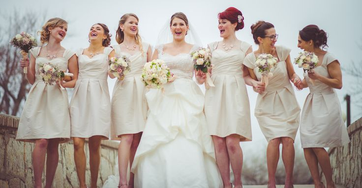 Alfred Sung Champagne Bridesmaid Dresses