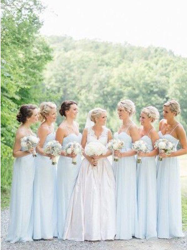 Long Bridesmaid Dress,spaghetti strap bridesmaid dress,light blue bridesmaid…