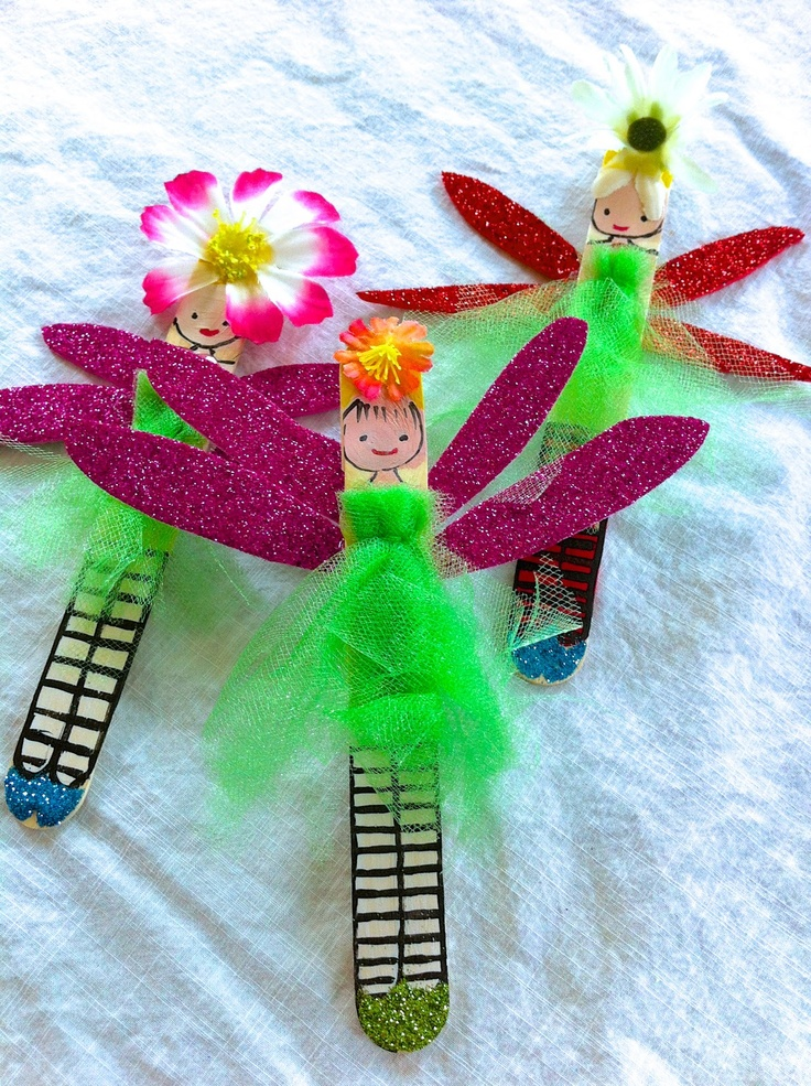 POPSICLE STICK CRAFT:  We're going to make these simple fairies in art class