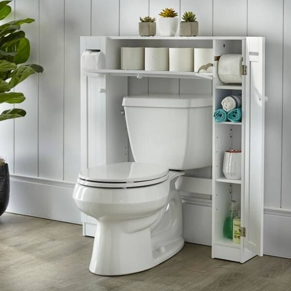 Simple Living Space Saver Over The Toilet Grey Gray Wood Small Bathroom Bathroom Styling Bathroom Storage