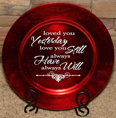 """red charger, vinyl """"loved you yesterday, love you still, always have, always will"""""""