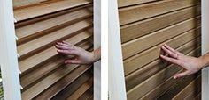 Schiebeläden mit beweglichen Holzlamellen