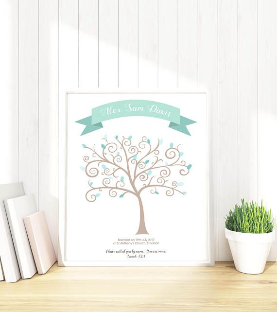 Baptism Fingerprint Tree, Baby Shower Fingerprint Tree, Baptism Wall Art, Christening Keepsake, Baptism Personalized, Christening Gift Boy