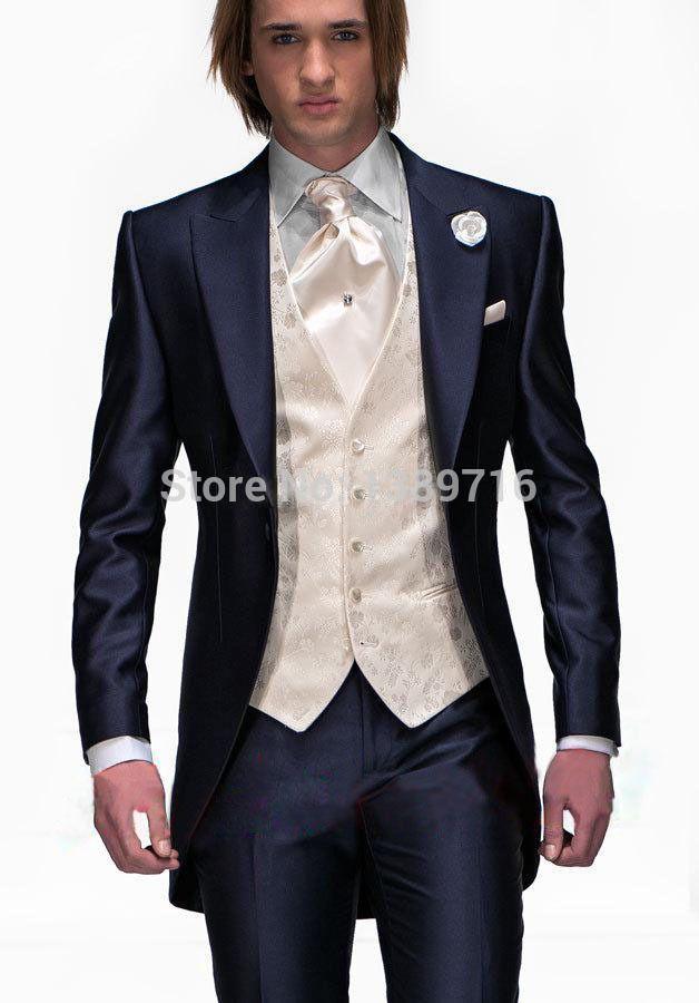 Костюмы морской синий один пуговица жених смокинг жениха мужчины в свадьба костюмы лучшие костюмы ( куртка + брюки + жилет + перевязка )