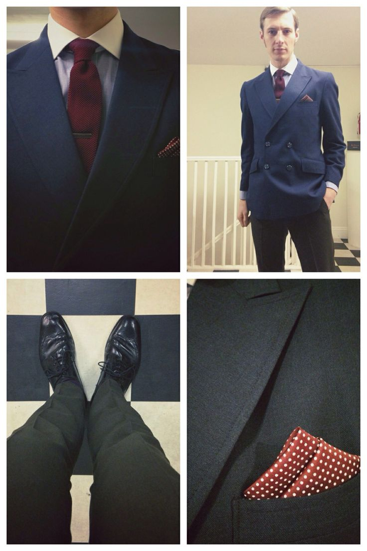 Navy Double Breasted Jacket w/Peaked Lapels - Light Blue Dress Shirt w/Contrast Collar - Brown Flat Fronted Trousers - Black Brogues & Belt - Wine Knitted Tie & Silver Tie Clip - Wine Polka Dot Pocket Square