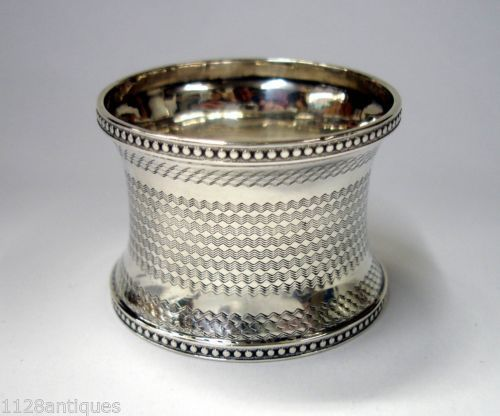 "BEAUTIFUL ENGRAVED ANTIQUE STERLING SILVER NAPKIN RING ""HM"""
