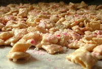 Rice chex cereal, crushed peppermint and white chocolate  Another easy one!