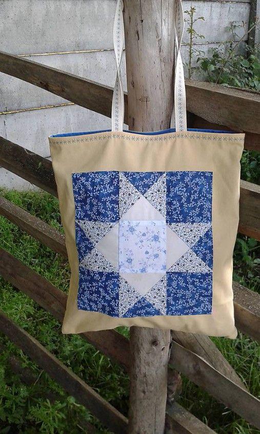 lienka97 / Nákupná taška s patchworkovou aplikáciou 8