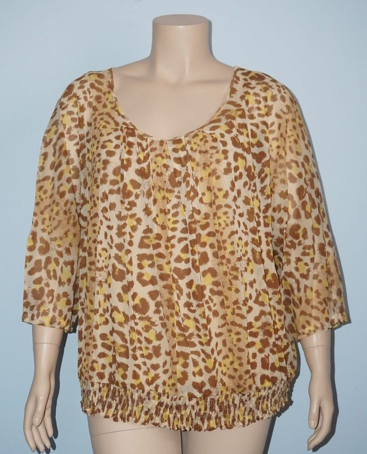 Apt. 9 Brown & Yellow Animal Print Smock Peasant 2 Pc. Blouse & Cami Top Set 3x #Apt9 #Blouse