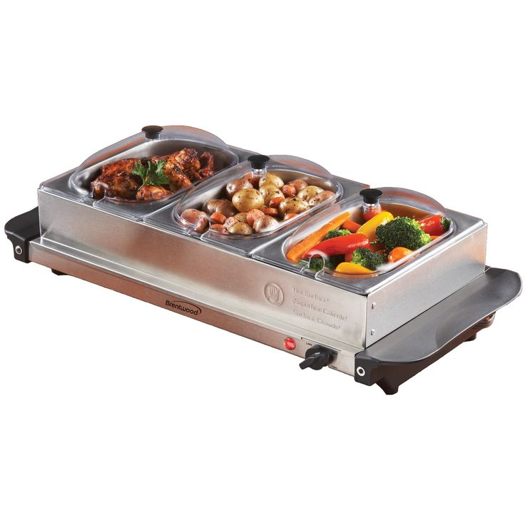 Brentwood Triple Buffet Server w/ Warming Tray, Silver stainless steel