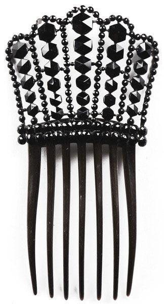 Antique Jet Studded Hair Comb Victorian Era